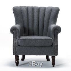 Wing Back Chair Chesterfield Armchair Fireside Bedroom Lounge Tub Sofa Velvet UK