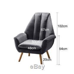 Wing Back Chair Upholstered Velvet Armchair Fabric Tub Sofa Retro Fireside Seat