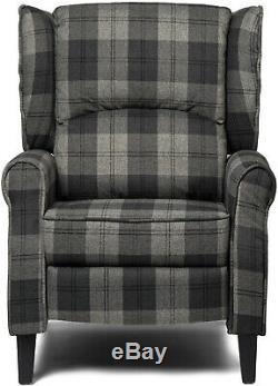 Wing Back Checked Fabric Armchair Lounge Sofa Fireside Cinema Chair Grey