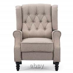 Wing Back Chesterfield Armchair Vintage Recliner Lounge TV Chair Fireside Seat