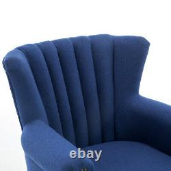 Wing Back Chesterfield Fireside Occasional Armchair High Back Fabric Tub Chair