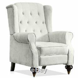 Wing Back Fabric Herringbone Fireside Recliner Armchair Sofa Lounge Chair