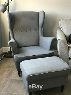 Wing Back Fabric Upholstered Chair Fireside Armchair and Footstool Set Lounge UK
