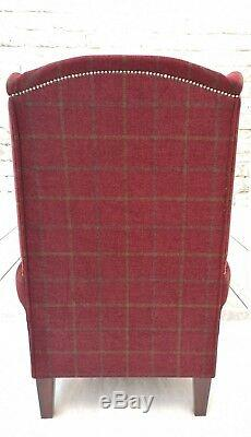 Wing Back Fireside Arm Chair Extra Tall High Back in Red Claret Lana Check
