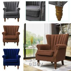 Wing Back Fireside Armchair Occasional Lounge Sofa Retro Chesterfield Tub Chair