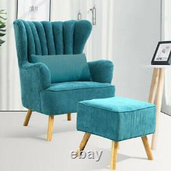 Wing Back Fireside Armchair Sofa Velvet Upholstered Oyster Chair with Footstool