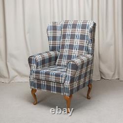 Wing Back Fireside Chair Kintyre Chambray Tartan Fabric Armchair