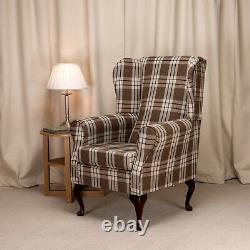 Wing Back Fireside Chair Kintyre Chestnut Tartan Fabric Armchair