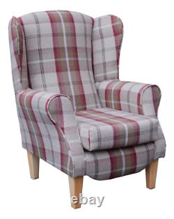 Wing Back Fireside Chair Rosso Red Tartan Fabric Easy Armchair Queen Anne