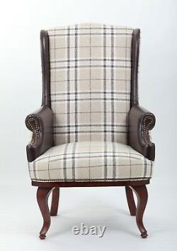 Wing Back Fireside Check Fabric Armchair Sofa Lounge Cinemo Chair
