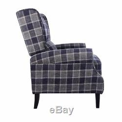 Wing Back Fireside Check Fabric Recliner Armchair Vintage Soft Lounge Seat Chair