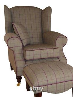 Wing Back Fireside Cottage Armchair Bamburgh Brown Check Footstool Cushion