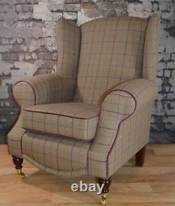 Wing Back Fireside Cottage Armchair Bamburgh Brown Check Footstool + Cushion