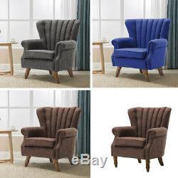 Wing Back Fireside Fabric Occasional Armchair Seat Sofa Lounge Cinema Chair UK
