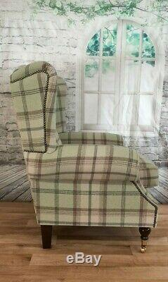 Wing Back Fireside Queen Anne Chair Balmoral Sage Tartan Fabric Dark Wood Legs
