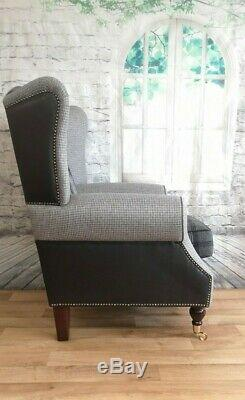 Wing Back Fireside Queen Anne Chair Black & Grey Tartan Snakeskin Combination