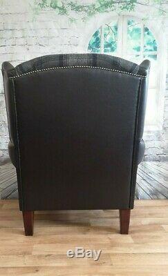 Wing Back Fireside Queen Anne Chair Black & Grey Tartan with Snakeskin Frame