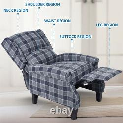 Wing Back Fireside Tartan Fabric Recliner Armchair Sofa Lounge Cinema Chair Uk