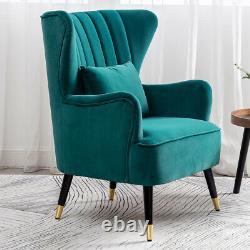 Wing Back Fireside Velvet Armchair Oyster High Back Chair Bedroom Lounge Sofa