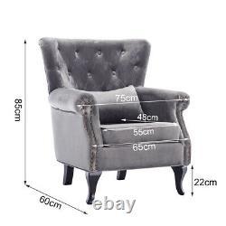 Wing Back Fireside Velvet Button Back Armchair Sofa Lounge Queen Anne Chair