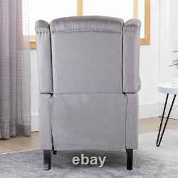 Wing Back Grey Recliner Chair Fabric Padded Seat Fireside Armchair Lounge Home