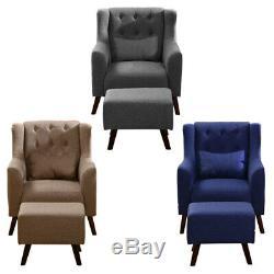 Wing Back Lounge Fabric Armchair Tub Fireside Bedroom Chair Sofa + Footstool