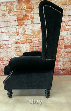 Wing Back Queen Anne Fireside Extra Tall High Back Chair Black Soft Touch Fabric