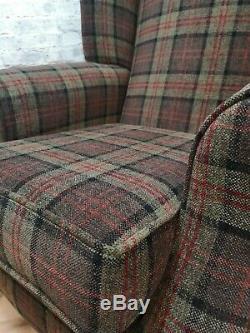 Wing Back Queen Anne Fireside Extra Tall High Back Chair Lana Green Tartan