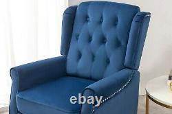 Wing Back Recliner Chair Fabric Button Fireside Occasional Armchair