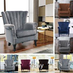 Wing Back Recliner Chair Fabric Fireside Occasional Armchair Living Room Relax