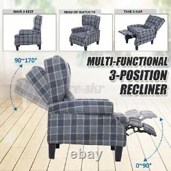 Wing Back Recliner Chair Fireside Fabric Reclining Armchair Sofa Lounge Office