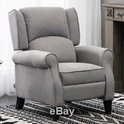 Wing Back Upholstery Recliner Armchair Fabric Fireside Lounge Chair Lounger Grey