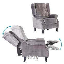Wing Back Velvet Recliner Chair Button Tufted Occasional Armchair Fireside Home