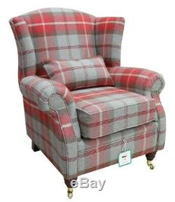 Wing Chair Fireside High Back Armchair Balmoral Cherry Red Check Checked PS