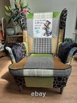 Wing back fireside armchair patchwork featMad Hatter
