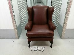 Wingback Armchair Brown Leather Wing Back, Fireside 2/2 Vintage, Retro