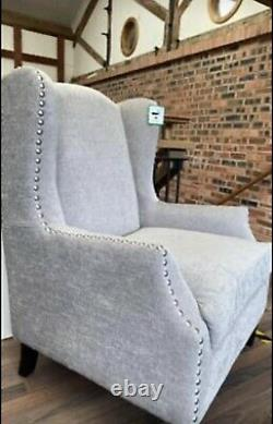 Wingback Armchair Fireside Studded Grey Fabric