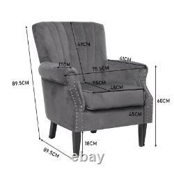 Wingback Armchair Velvet Upholstered Studded Fireside Living Room Sofa Chair