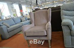 Wingback Armchairs x2 A Pair of Lilac Plush Velvet Fireside Chairs with Tall Leg