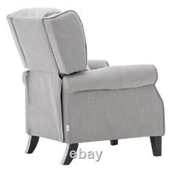Wingback Fabric Recliner Sofa Armchair Lounge Chair Check Fireside Grey Movies