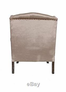 Wingback Fireside Armchair Nursing Queen Ann Velour Crush Gold Champagne Velvet