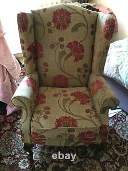 Wingback Fireside Chair, Armchair, High Back, Floral, Used but in good condition