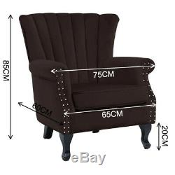 Wingback Fireside Velvet Fabric Armchair Retro Rivets Sofa Lounge Tub Chair Grey