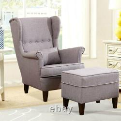 Wingback Linen Armchair and Footstool Chair Occasional Fireside Queen Anne Sofa
