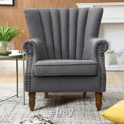 Wingback Upholstered Armchair Shell Accent Chair English Roll Arm Sofa Fireside