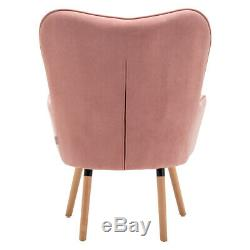 Winged Velvet Armchair Button High Back Chair Footstool Occasional Fireside Sofa